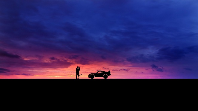 car and sunset_1